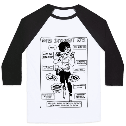 Super Introvert Girl Baseball Tee