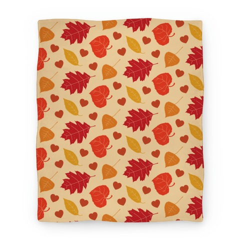 Autumn Leaves and Hearts Pattern Blanket