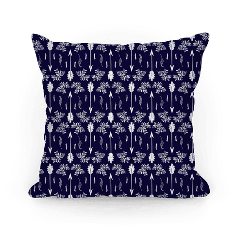Navy Floral Arrow Pattern Pillow