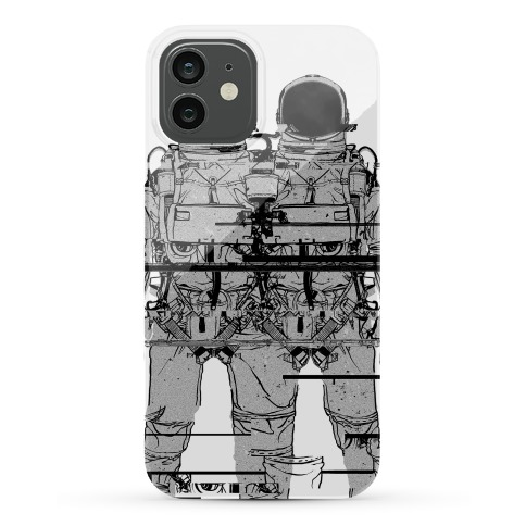 Twin Astronaut Glitch Phone Case