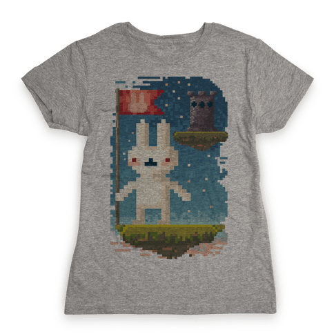 Pixel Bunny Plants Flag Womens T-Shirt