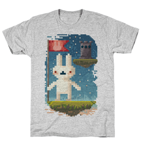 Pixel Bunny Plants Flag Mens T-Shirt