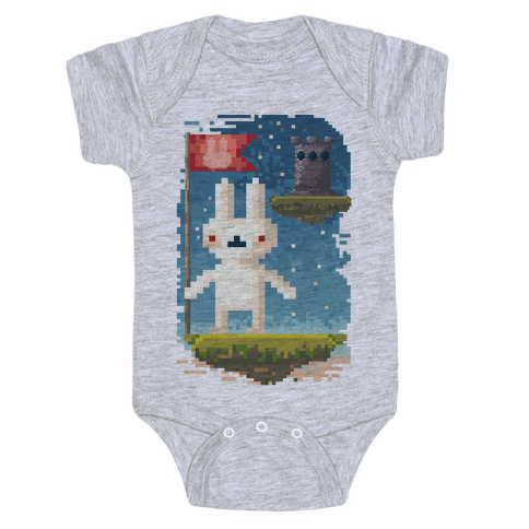 Pixel Bunny Plants Flag Baby Onesy