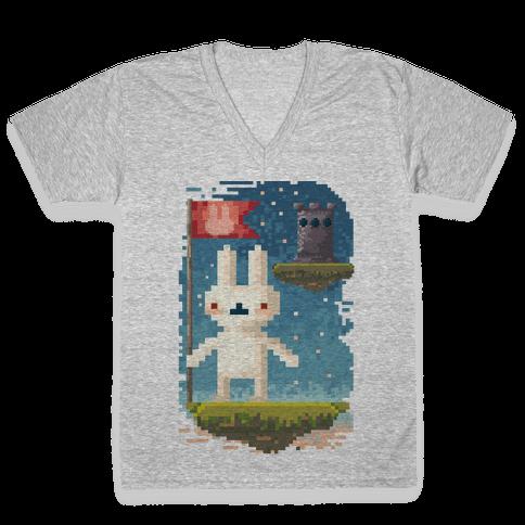 Pixel Bunny Plants Flag V-Neck Tee Shirt