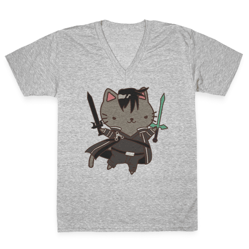 Cat Cosplay Kirito V-Neck Tee Shirt