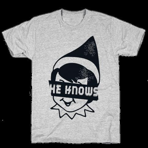 He Knows Elf Mens T-Shirt