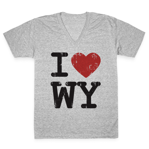 I Love Wyoming V-Neck Tee Shirt