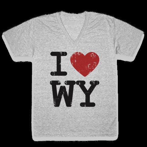 I Love Wyoming V-Neck Tee Shirt