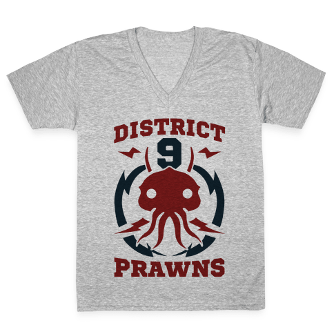 District 9 Prawns (Sports Logo Parody) V-Neck Tee Shirt
