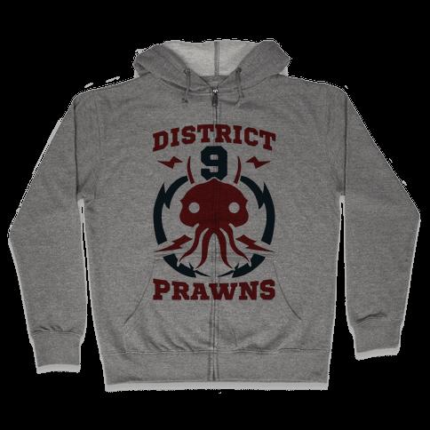 District 9 Prawns (Sports Logo Parody) Zip Hoodie