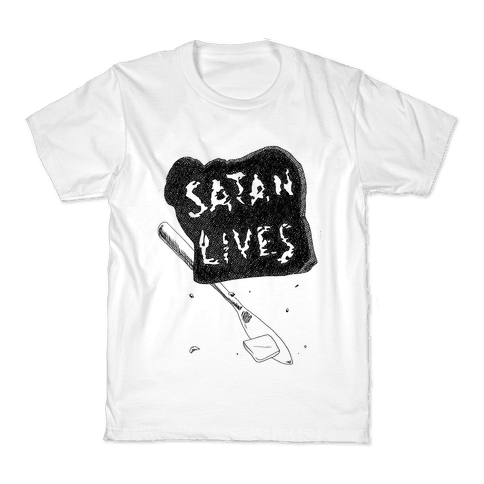 Satanic Toast, Satan Lives Breakfast Kids T-Shirt