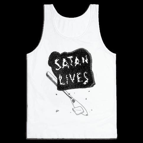 Satanic Toast, Satan Lives Breakfast Tank Top