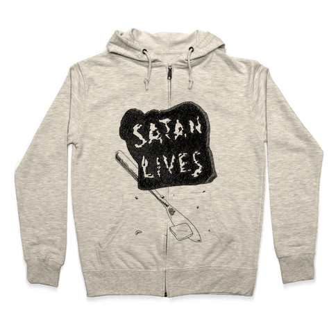 Satanic Toast, Satan Lives Breakfast Zip Hoodie