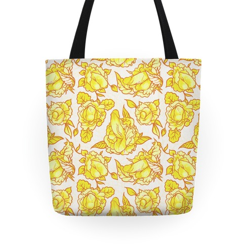 Floral Penis Pattern Yellow Tote
