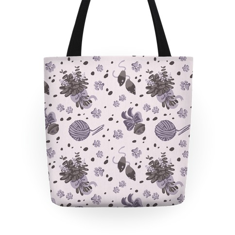 Catnip Kitty Cat Pattern (Gray) Tote