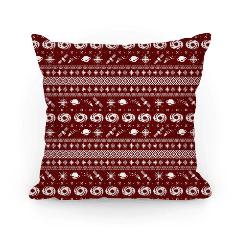 Interstellar Christmas Sweater Pattern Pillow