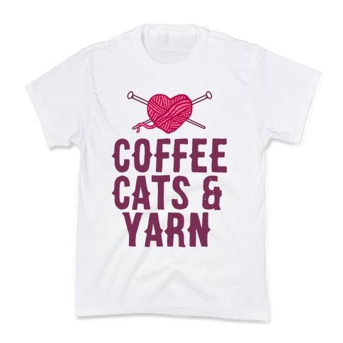 Coffee, Cats and Yarn Kids T-Shirt