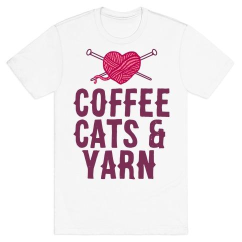 Coffee, Cats and Yarn T-Shirt