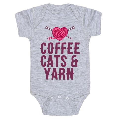 Coffee, Cats and Yarn Baby Onesy