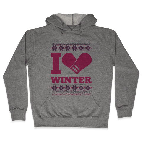 I Love Winter (Snowboard Heart) Hooded Sweatshirt