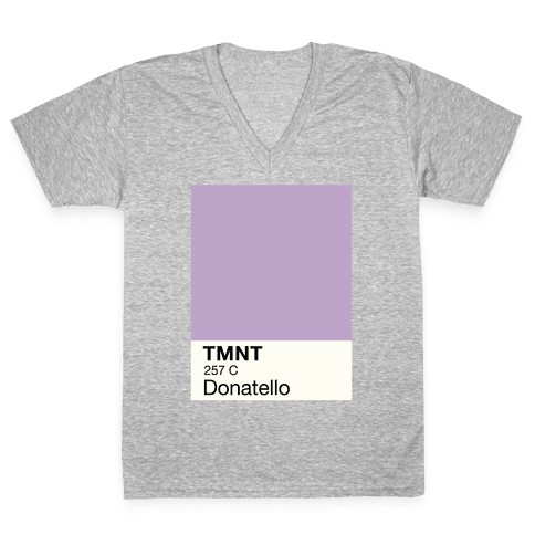 Donatello Color Swatch Parody V-Neck Tee Shirt