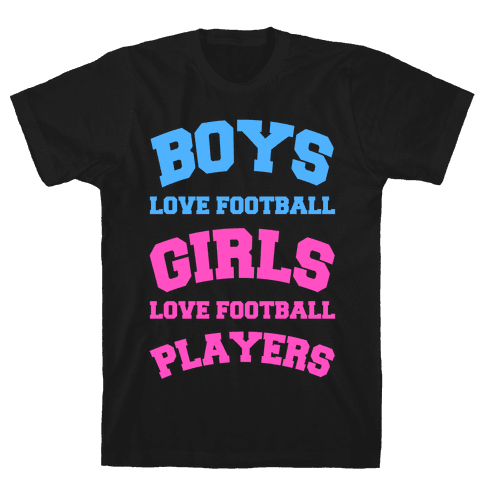 Boys and Girls Love Football Mens T-Shirt