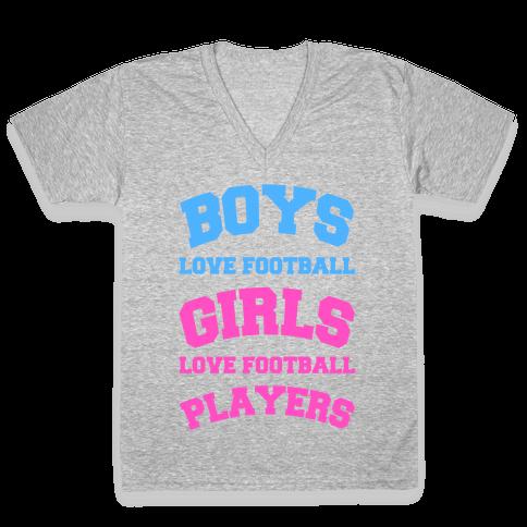 Boys and Girls Love Football V-Neck Tee Shirt