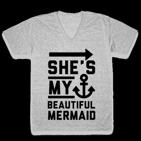 She's My Beautiful Mermaid V-Neck Tee Shirt