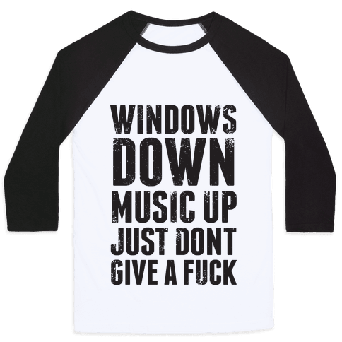 Windows Down, Music Up Baseball Tee