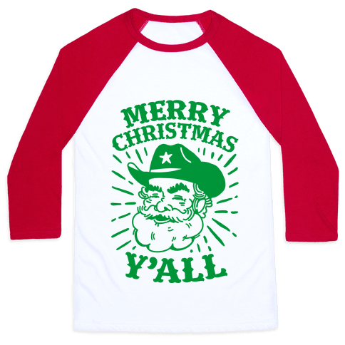 Merry Christmas Y'all Santa Claus Baseball Tee
