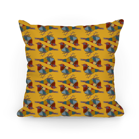 Mosaic Bird Pattern Pillow