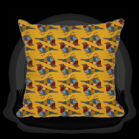 Mosaic Bird Pattern - Throw Pillow - HUMAN