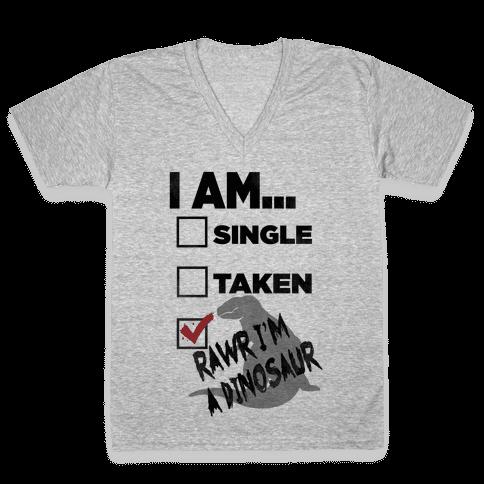 Rawr I'm A Dinosaur! V-Neck Tee Shirt