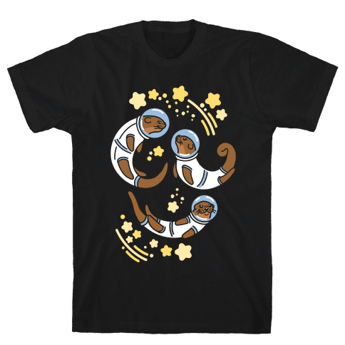 Otters In Space Mens T-Shirt
