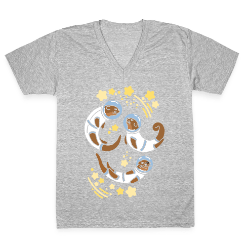 Otters In Space V-Neck Tee Shirt