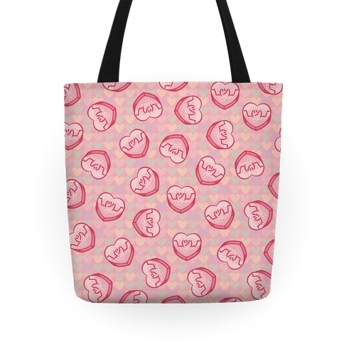 Shrug Emoji Candy Hearts Pattern Tote