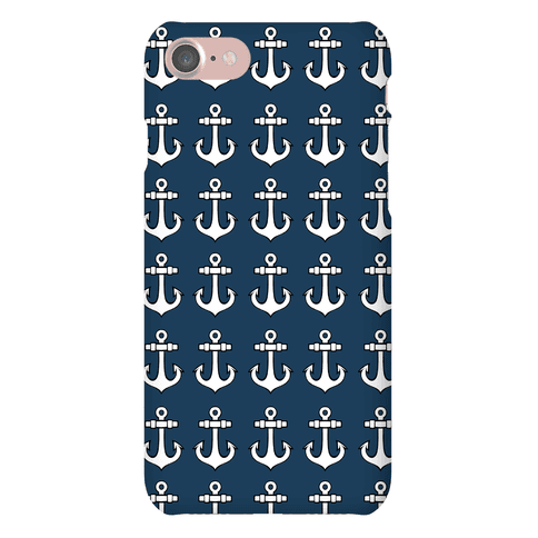 Blue Anchor Pattern Phone Case