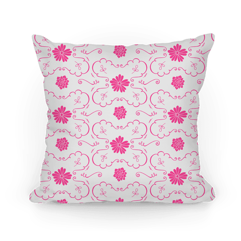 Pink and White Floral Wallpaper Pattern Pillow