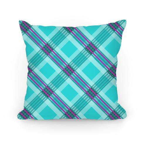 Cool Blue Plaid Pillow Pillow