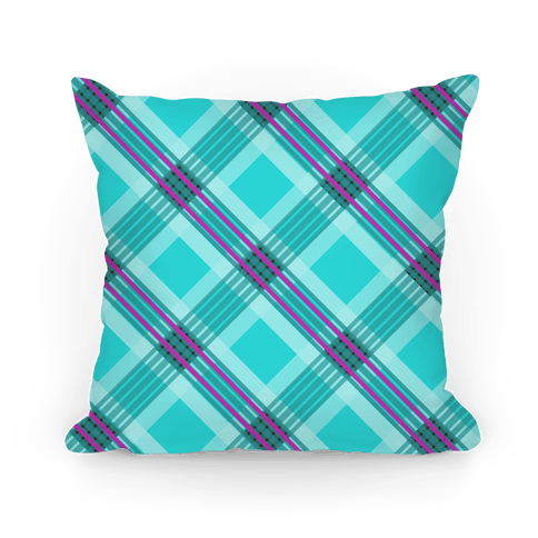 Cool Blue Plaid Pillow Pillow
