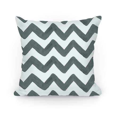 Black and White Watercolor Chevron Pattern Pillow