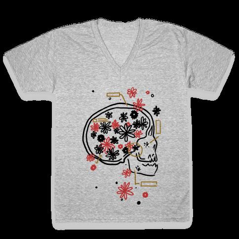 Terminal Daydream Flower Skull V-Neck Tee Shirt