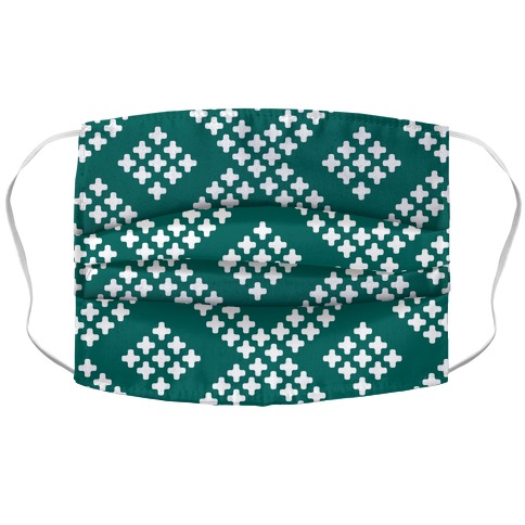 Little Cross Pattern Teal Accordion Face Mask
