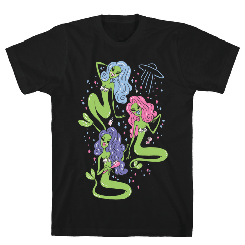 Mermaid Martians Mens T-Shirt