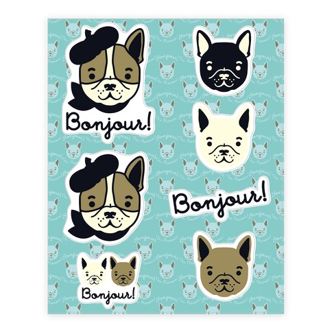 Bonjour French Bulldog Sticker and Decal Sheet