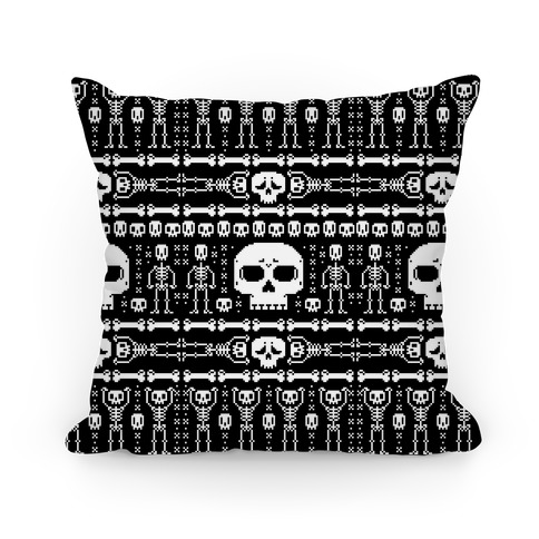 Ugly Skeleton Sweater Pattern Pillow