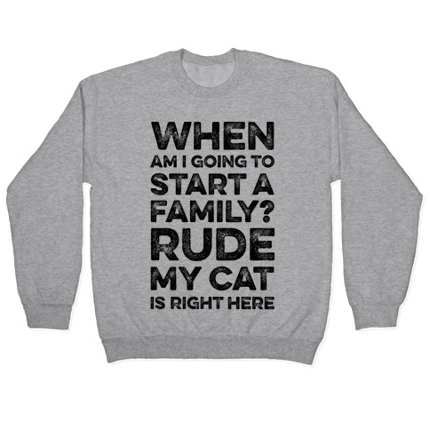 When Am I Going To I Start A Family? Rude My Cat Is Right Here Pullover