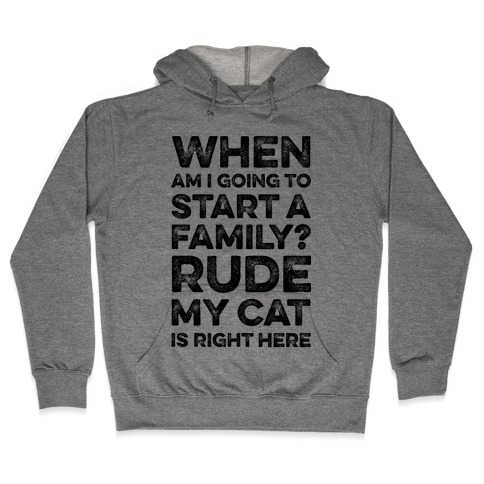 When Am I Going To I Start A Family? Rude My Cat Is Right Here Hooded Sweatshirt