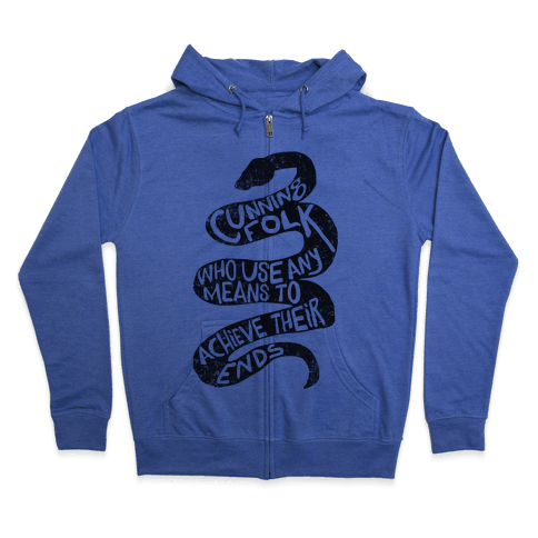 Cunning Folk Who Use Any Means To Achieve Their Ends (Slytherin) Zip Hoodie