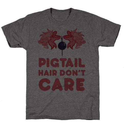 Pigtail Hair Don't Care Mens T-Shirt